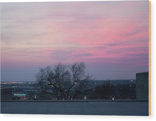 Sunset From Liberty Memorial Wood Print