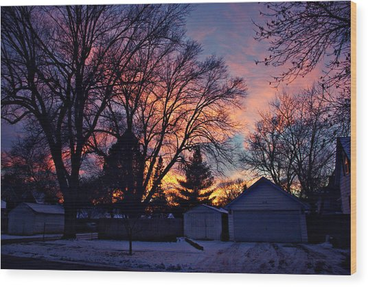 Sunset From My View Wood Print
