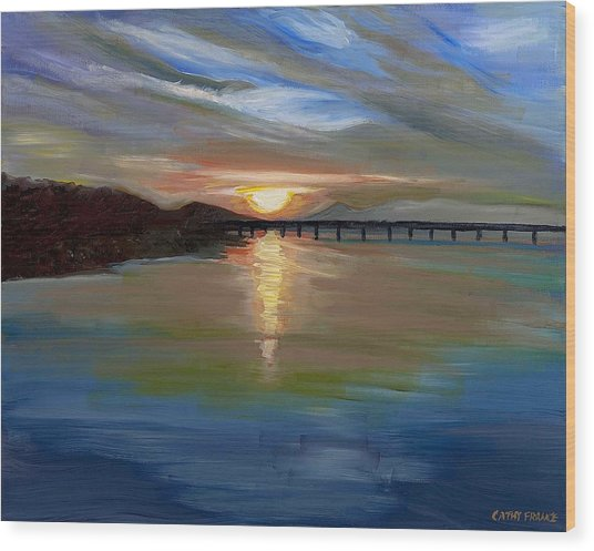 Sunset From The Big Dam Bridge Wood Print by Cathy France