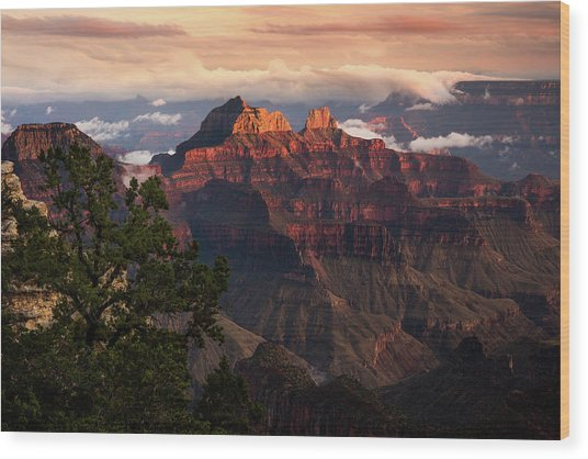 Sunset From The Grand Canyon Lodge Wood Print by Adam Schallau