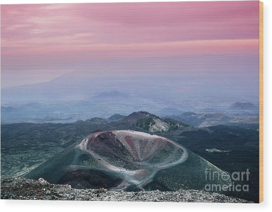 Sunset From The Top Of The Etna Wood Print