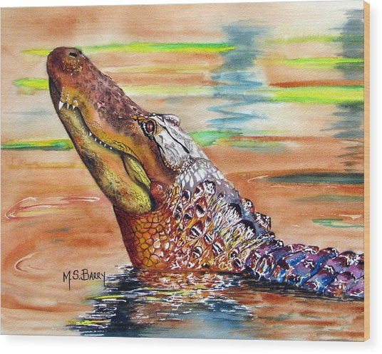 Sunset Gator Wood Print by Maria Barry