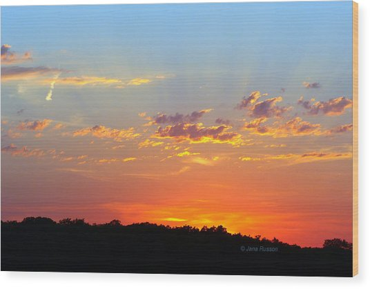 Sunset Glory Orange Blue Wood Print