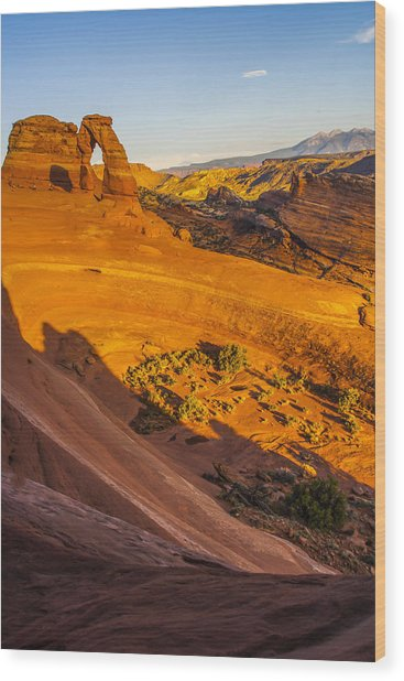 Sunset Glow On Delicate Arch Wood Print