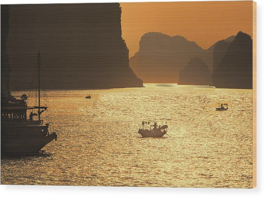Sunset Ha Long Bay IIi Wood Print