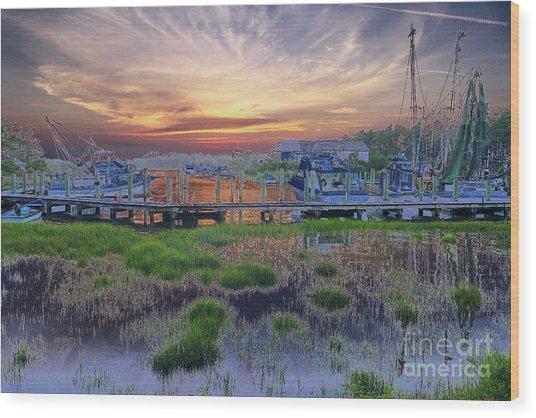 Sunset Harbor Dream Wood Print