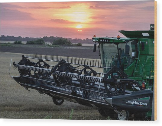 Sunset Harvest Wood Print by Lori Root