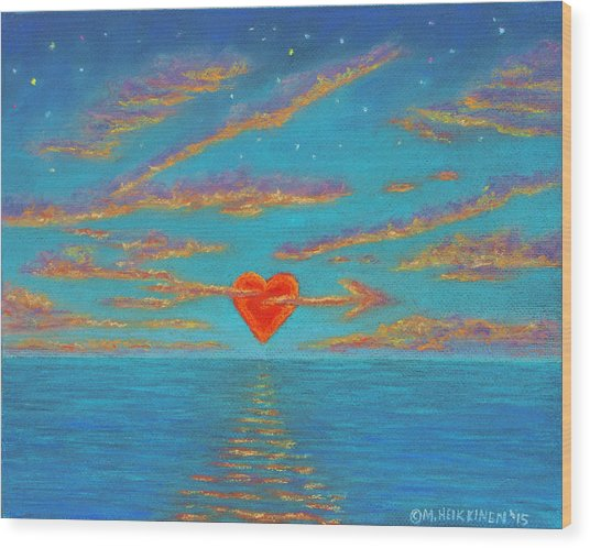Sunset Heart 01 Wood Print