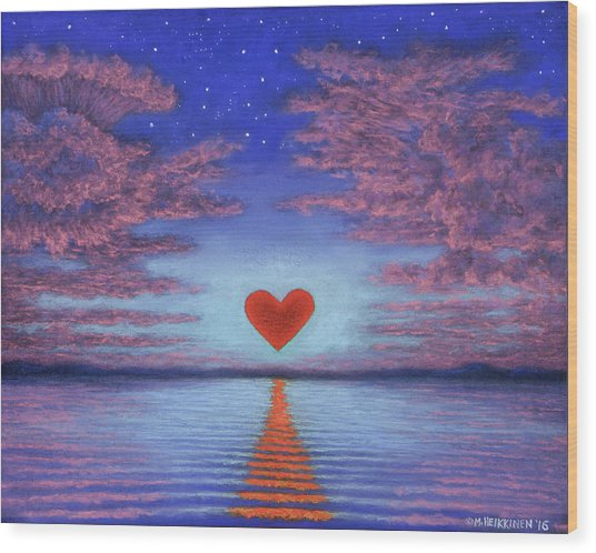 Sunset Heart 02 Wood Print