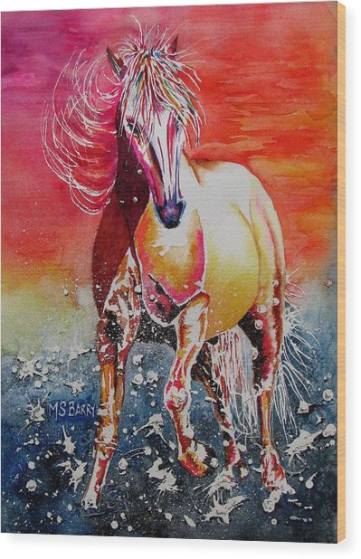 Sunset Horse Wood Print by Maria Barry