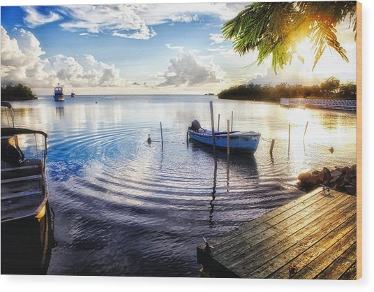 Sunset In A Fishing Village Wood Print by George Oze