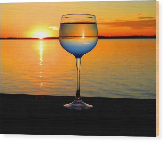 Sunset In A Glass Wood Print