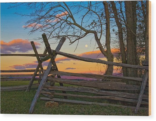 Sunset In Antietam Wood Print