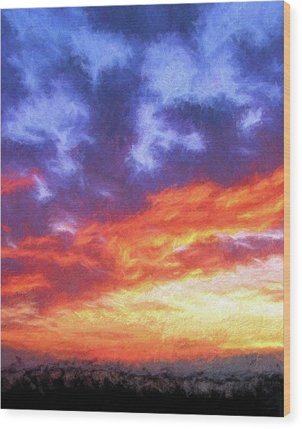 Sunset In Carolina Wood Print