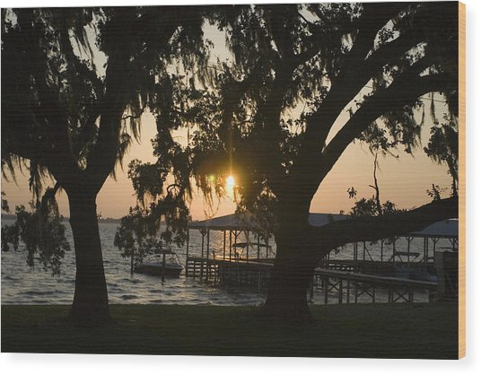 Sunset In Central Florida Wood Print by Christopher Purcell