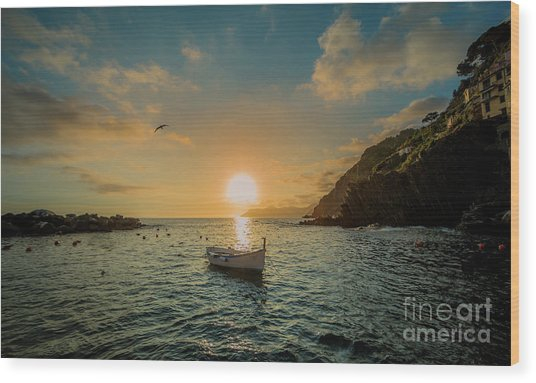 Sunset In Cinque Terre Wood Print