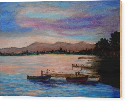 Sunset In Evia Wood Print