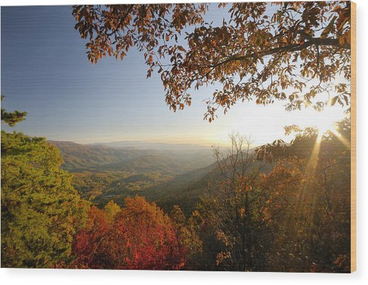 Sunset In Great Smoky Mountains Wood Print by Darrell Young