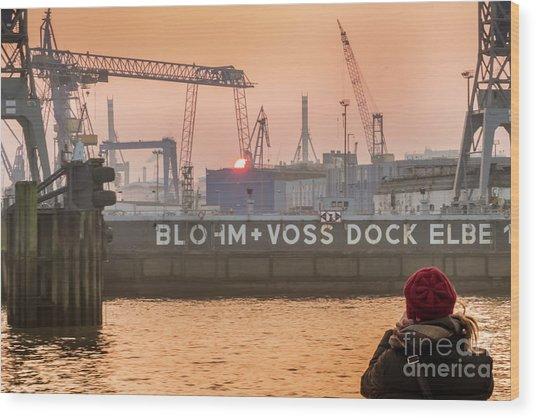 Sunset In Hamburg Port Germany Wood Print