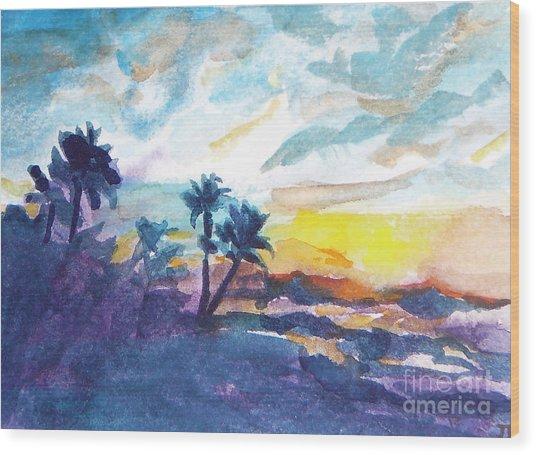 Sunset In Hawaii Wood Print