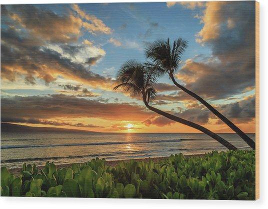 Sunset In Kaanapali Wood Print