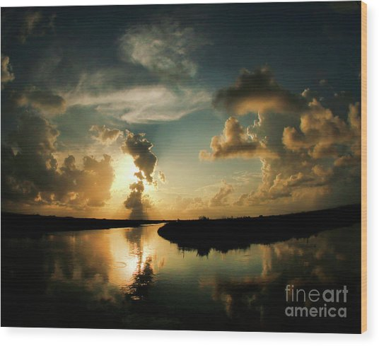 Sunset In Lacombe, La Wood Print