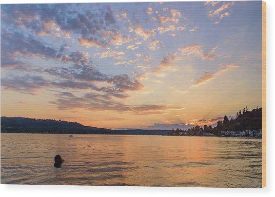 Sunset In Lake Sammamish Wood Print