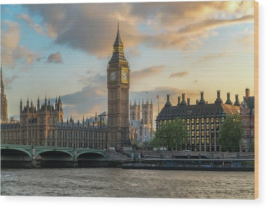 Sunset In London Westminster Wood Print