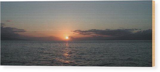 Sunset In Maui Wood Print by Bj Hodges