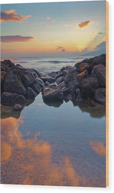 Sunset In Maui Wood Print