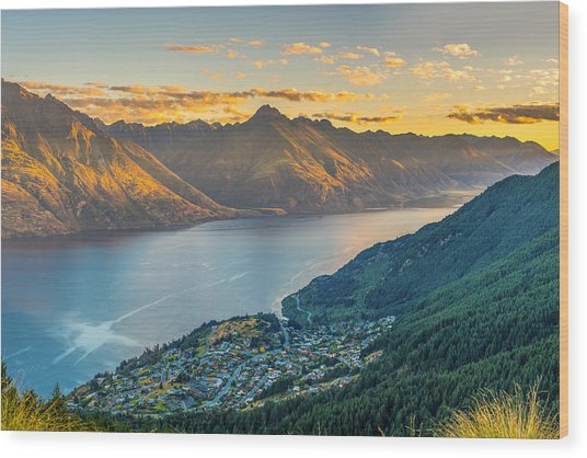 Sunset In New Zealand Wood Print