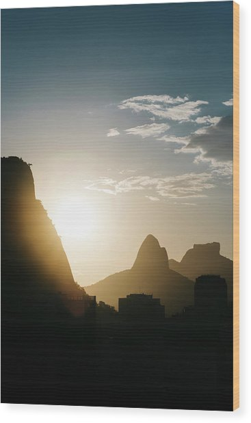 Sunset In Rio De Janeiro, Brazil Wood Print