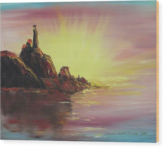 Sunset In Rocks Wood Print