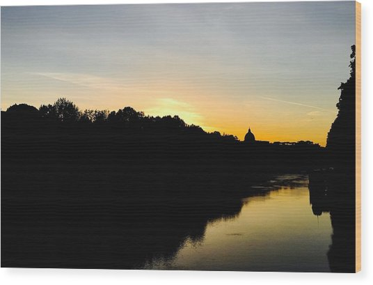 Sunset In Rome Wood Print
