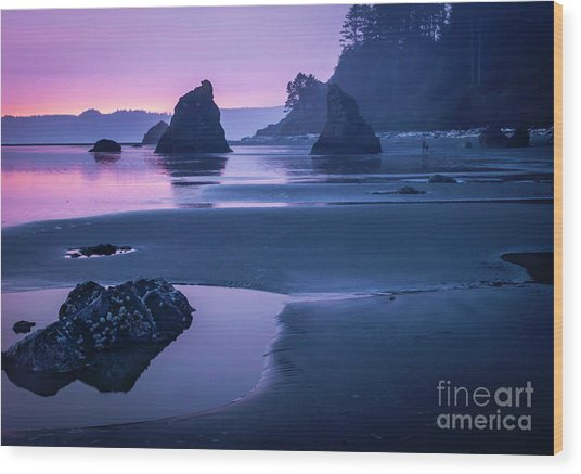 Sunset In Ruby Beach Wood Print