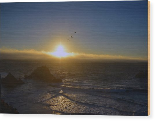 Sunset In San Francisco Wood Print
