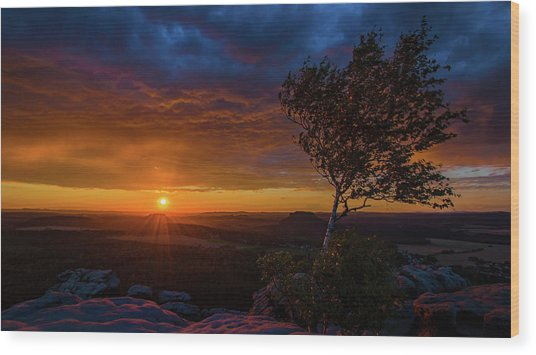 Sunset In Saxonian Switzerland Wood Print
