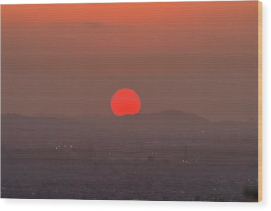 Sunset In Smog Wood Print