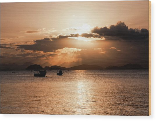 Sunset In Southern Brazil Wood Print