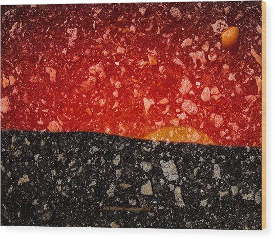 Sunset In Stone Wood Print