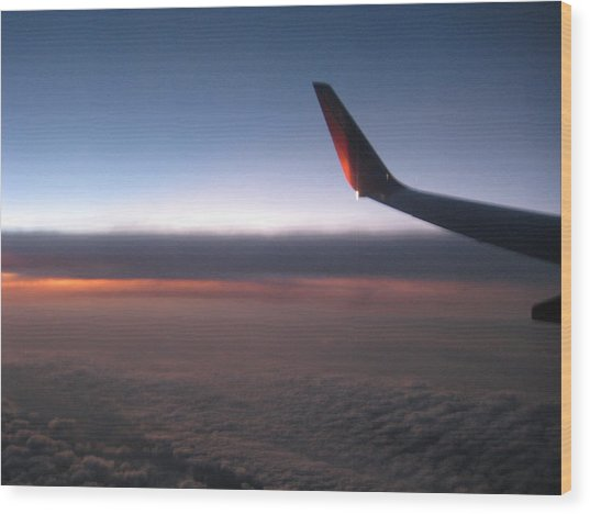 Sunset In The Air Wood Print by Renee Antos