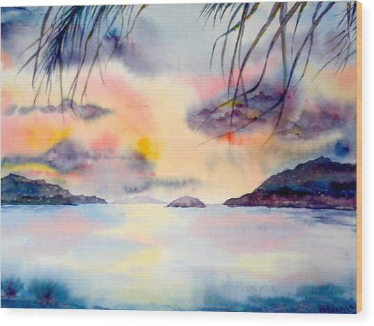 Sunset In The Caribbean Wood Print
