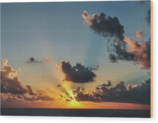 Sunset In The Caribbean Sea Wood Print