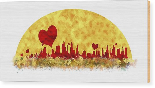 Sunset In The City Of Love Wood Print