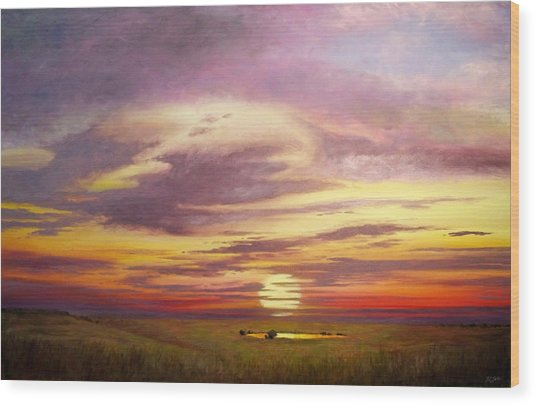 Sunset In The Flint Hills Wood Print