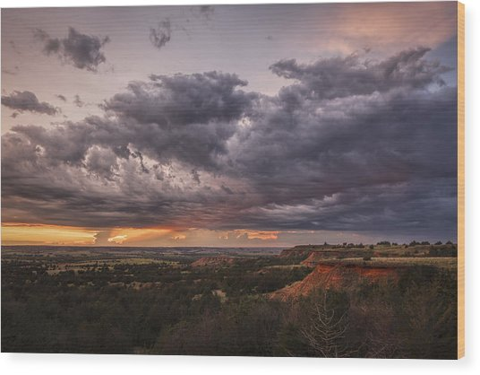 Sunset In The Red Hills Wood Print