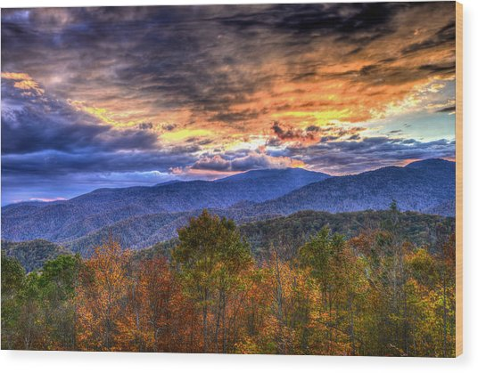 Sunset In The Smokies Wood Print