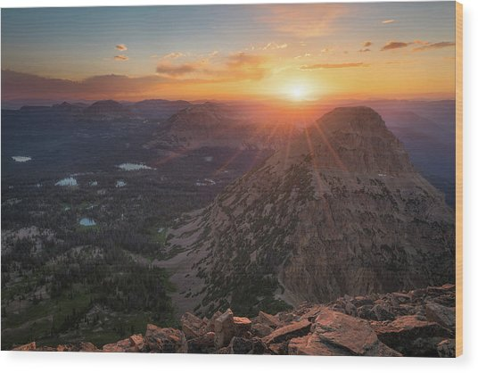 Sunset In The Uinta Mountains Wood Print