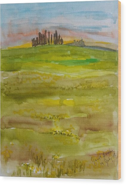 Sunset In Tuscany Wood Print by Janet Butler