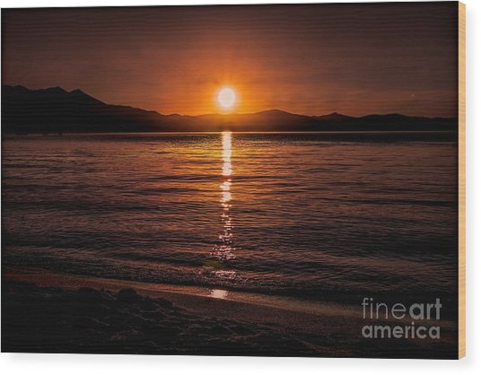 Sunset Lake 810pm Textured Wood Print